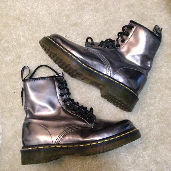 53993871f319 Dr. Martens Shoes | Dr Marten 1460 Pewter Koram Flash Metallic Boots ...